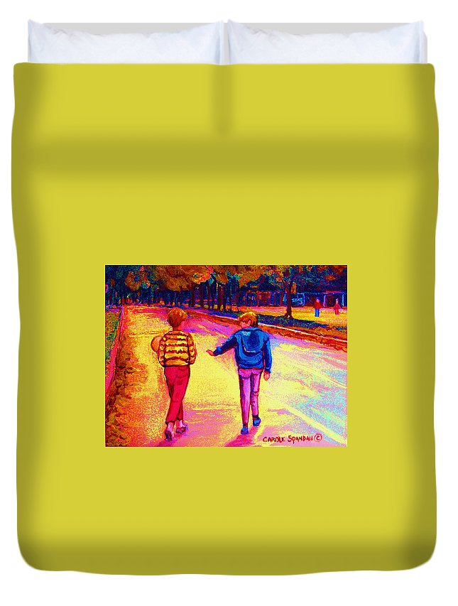 Children Duvet Cover featuring the painting Lets Play Ball At Beaverlake Park by Carole Spandau