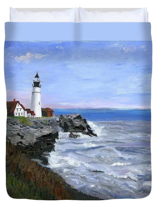 Ocean Duvet Cover featuring the painting Lighthouse South Portland Me by Gloria Condon