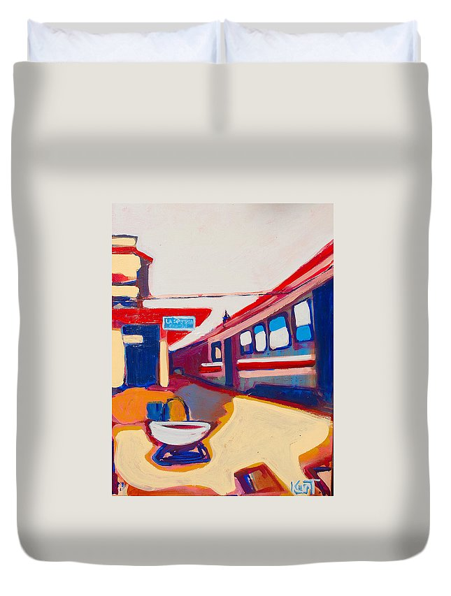 Train Station Duvet Cover featuring the painting Locale by Kurt Hausmann