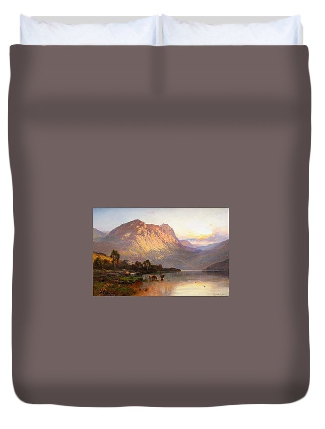 Alfred De Breanski Duvet Cover featuring the painting Loch Lomond And A Trout Stream by MotionAge Designs