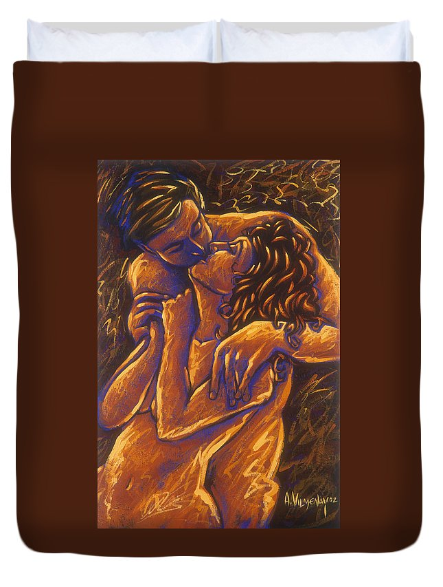 Acrylic Duvet Cover featuring the painting Los Amantes The Lovers by Arturo Vilmenay