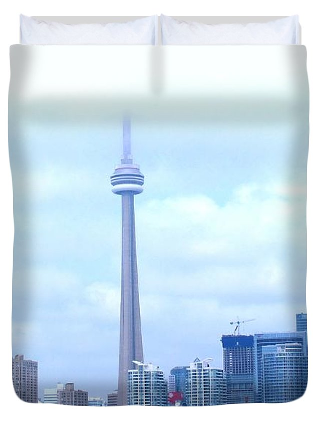 Toronto Duvet Cover featuring the photograph Lost In The Clouds by Ian MacDonald