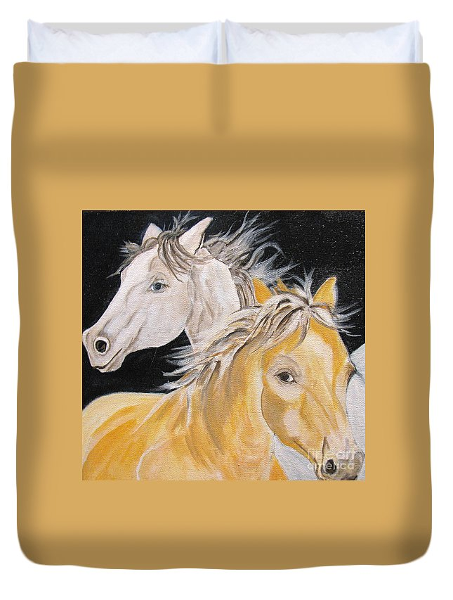 Horses Duvet Cover featuring the painting Love Story Part 2 by Donna Steward