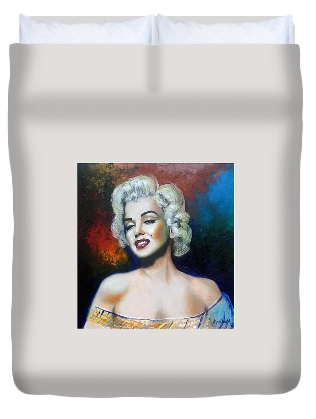 Women Star Duvet Cover featuring the painting M. Monroe by Jose Manuel Abraham