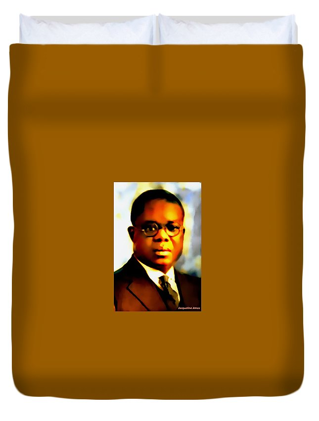 African Art. Collections Duvet Cover featuring the mixed media Marcus Garvey by Jacqueline Amos