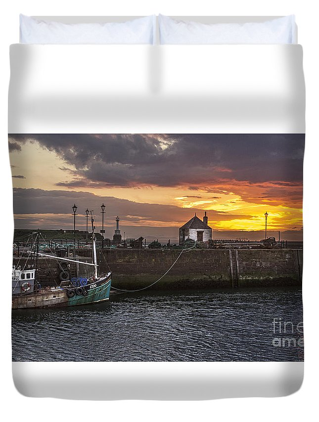 Maryport Duvet Cover featuring the photograph Maryport Harbour At Sunset by Ian Lewis