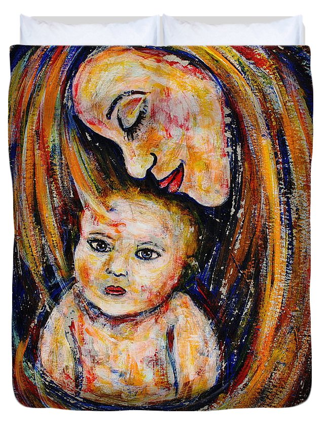 Expressionism Duvet Cover featuring the painting Mother's Love by Natalie Holland