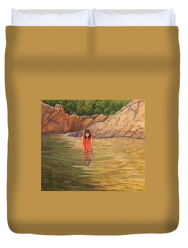 Native Woman Duvet Cover featuring the painting Nawaja  Inat The Legend Of The Water by Juan Enrique Marquez