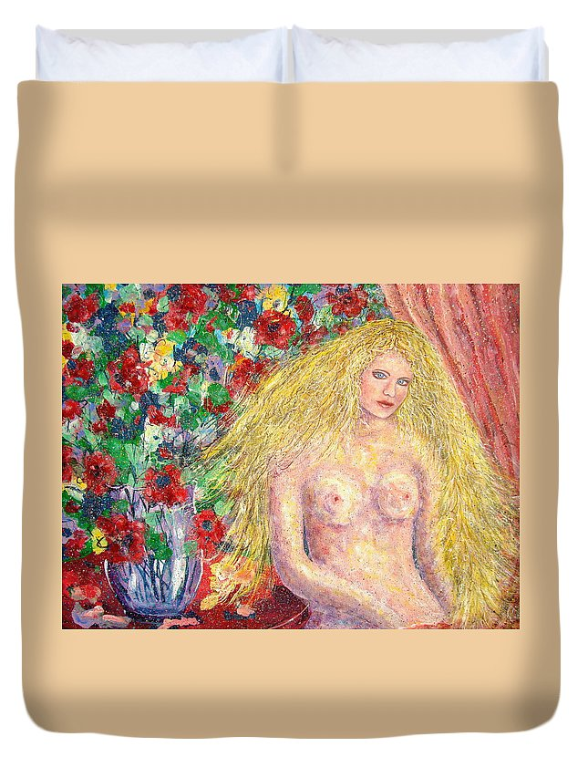 Nude Duvet Cover featuring the painting Nude Fantasy by Natalie Holland