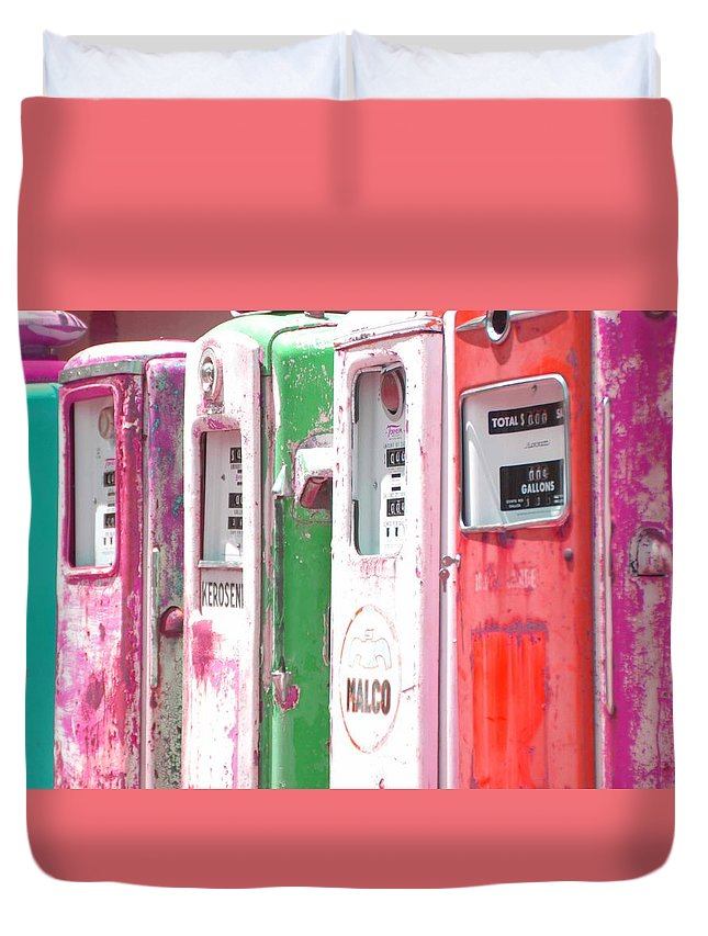 Old Gas Pumps Duvet Cover featuring the photograph Old Gas Pumps by Kerry Gallagher