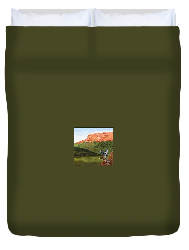 Red Hawk Duvet Cover featuring the painting Ongamira by Juan Enrique Marquez