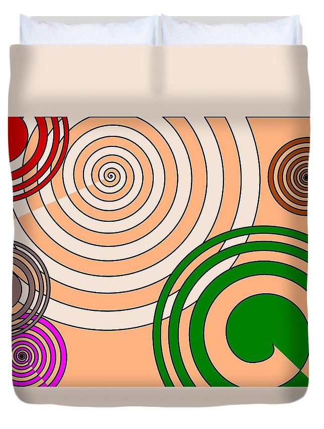 Colors Duvet Cover featuring the digital art Peach And Curves by Kseniia Tiazheva