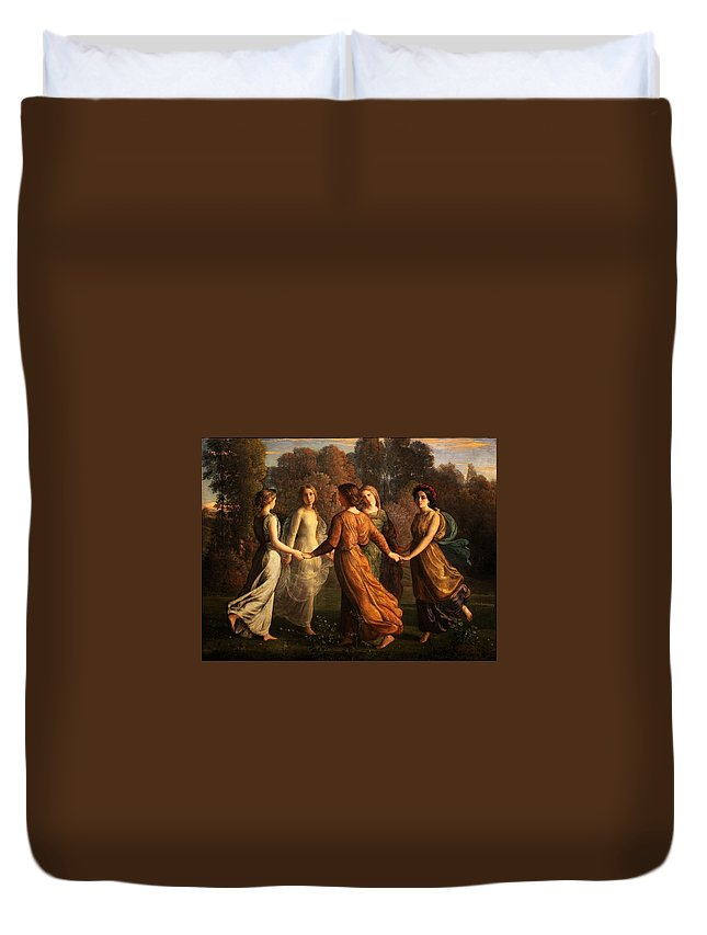 Louis Janmot - Poem Of The Soul 13 - Rays Of The Sun Duvet Cover featuring the painting Poem Of The Soul by MotionAge Designs