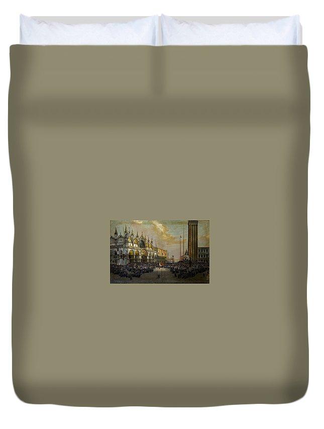 Luigi Querena Duvet Cover featuring the painting Popolo Di Venezia Solleva by MotionAge Designs
