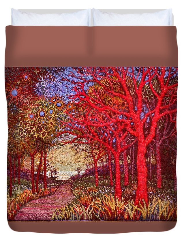 Trees Duvet Cover featuring the painting Red Trees by Kerstin Zettmar