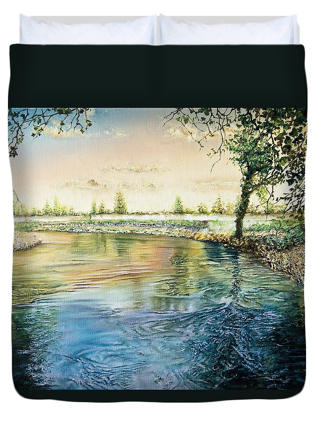 Branches Duvet Cover featuring the painting River Bend by Michel Angelo Rossi