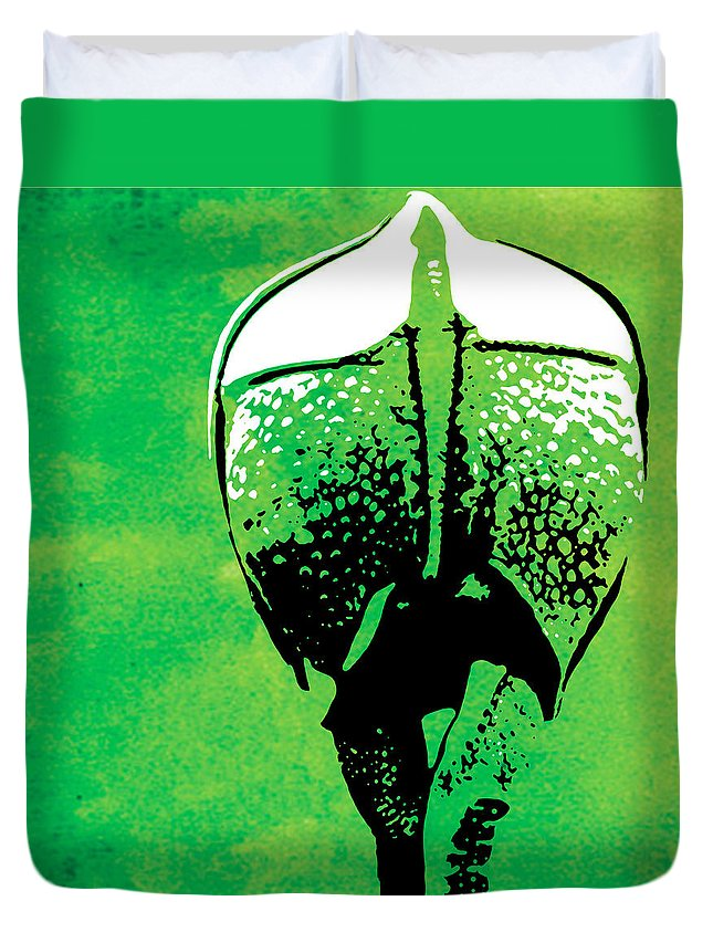 Rhino Duvet Cover featuring the painting Rhino Animal Decorative Green Poster 6 - By Diana Van by Diana Van
