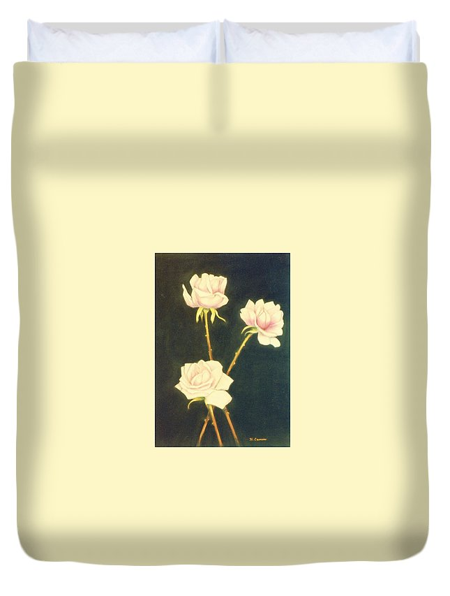 Roses Duvet Cover featuring the painting Roses In Full Bloom by Nancy Camm
