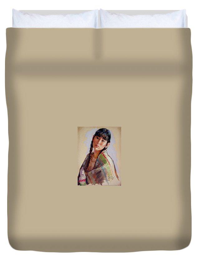 Sacajawea Duvet Cover featuring the painting Sacajawea  study by Jerrold Carton