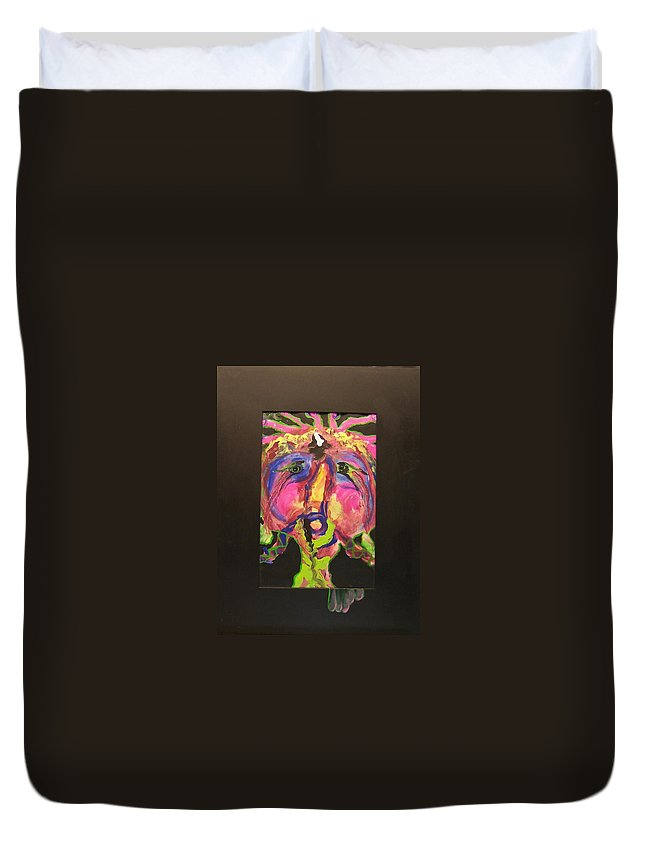 Acrylic Duvet Cover featuring the painting Self Portrait by Deahn   Benware