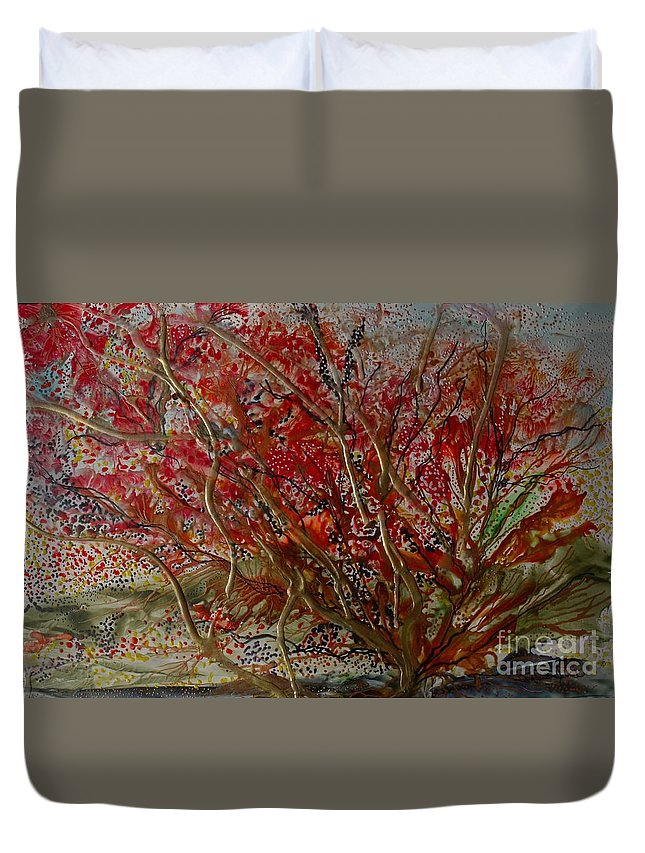 Autumn Duvet Cover featuring the painting Song Of Autumn by Heather Hennick
