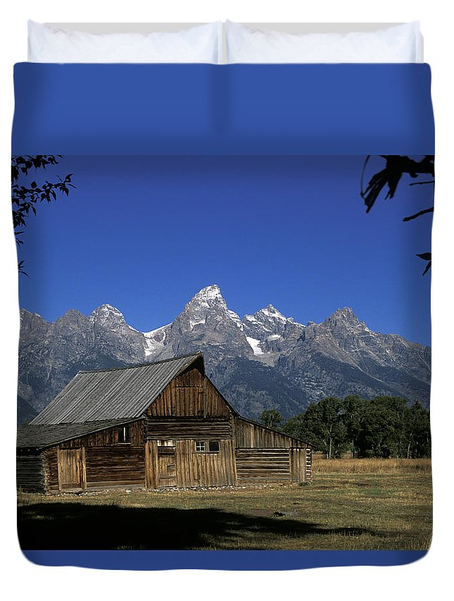 Late Snow Duvet Cover featuring the photograph South Moulton Barn Grand Tetons by Gary Langley