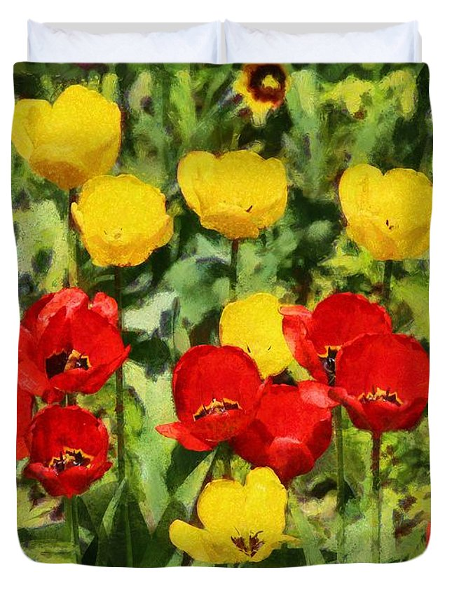 Red Tulips Duvet Cover featuring the painting Spring Landscape With Tulips by Sergey Lukashin
