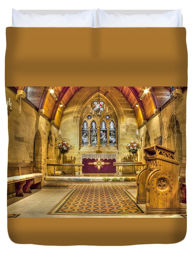 St Lawrence Seal Chart Duvet Cover featuring the photograph St Lawrence Seal Chart - Chancel by Dave Godden