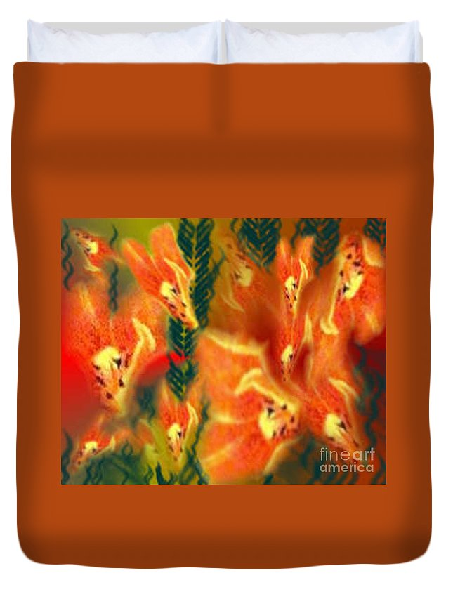 Florals Duvet Cover featuring the digital art Symphonic Dance by Brenda L Spencer