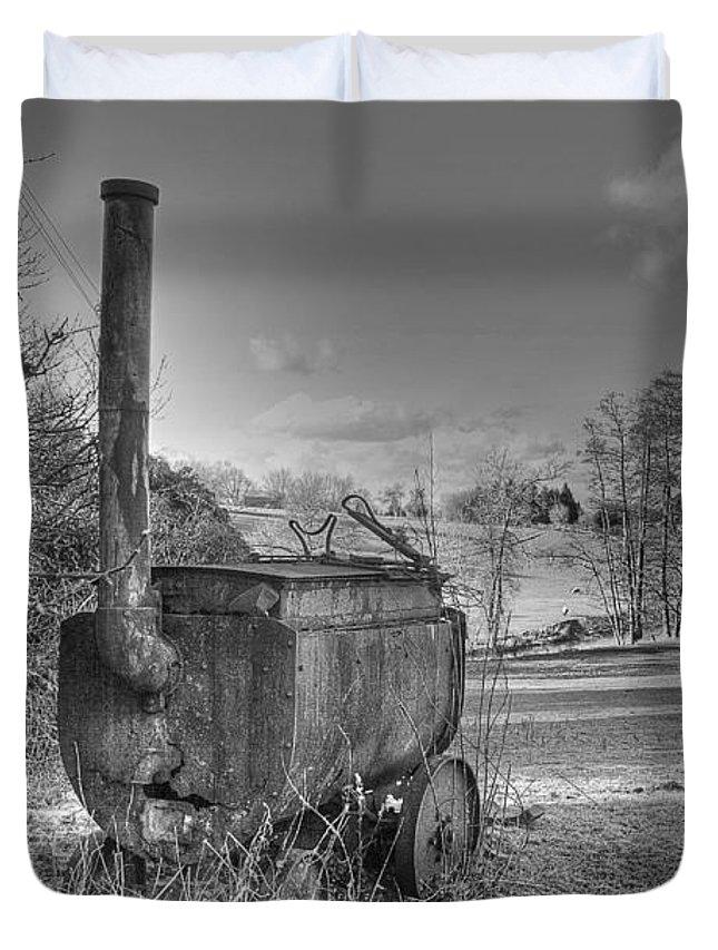 Tar Boiler Duvet Cover featuring the photograph Tar Boiler by Dave Godden