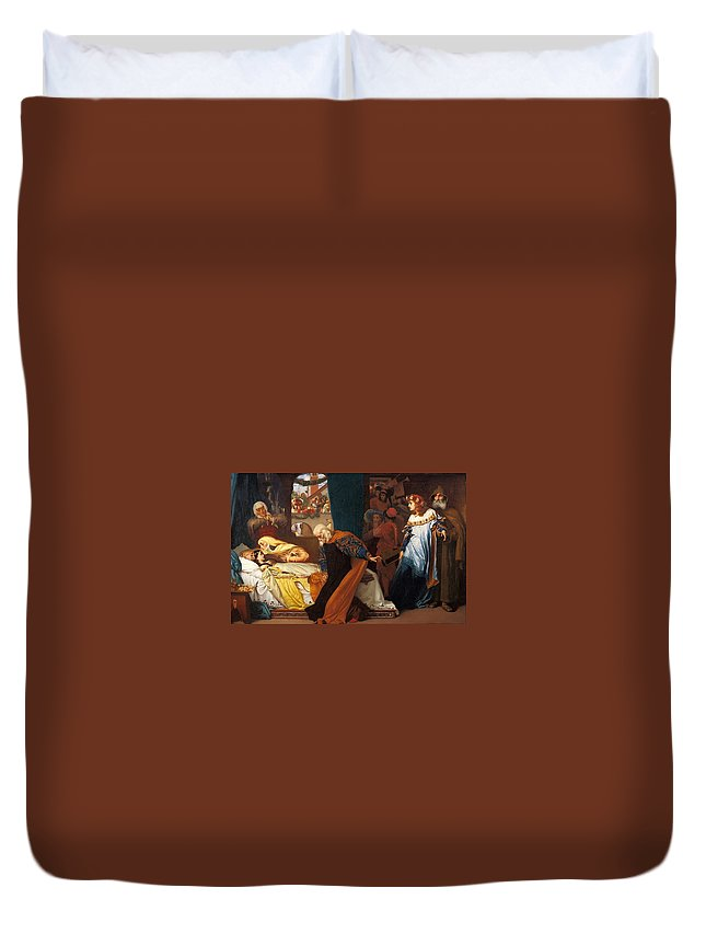 Lord Frederic Leighton - The Feigned Death Of Juliet 1858 Duvet Cover featuring the painting The Feigned Death Of Juliet by MotionAge Designs