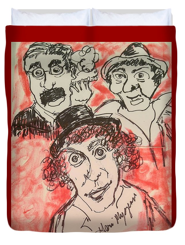 Comedy Duvet Cover featuring the painting The Marx Brothers by Geraldine Myszenski
