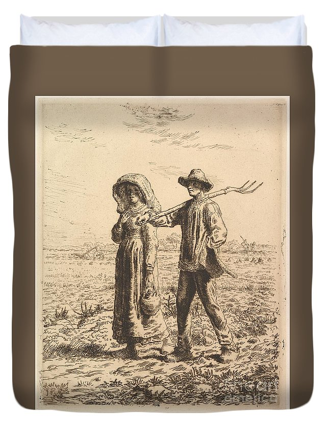 Jean-francois Millet Duvet Cover featuring the painting The Peasant Family by Celestial Images