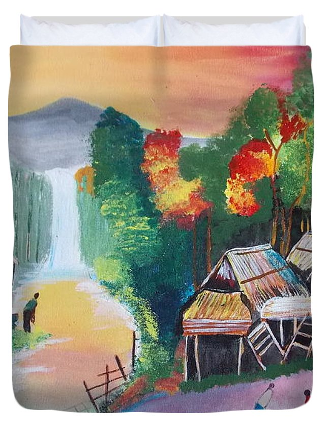 The Village Duvet Cover featuring the painting The Village by Saumya Saxena