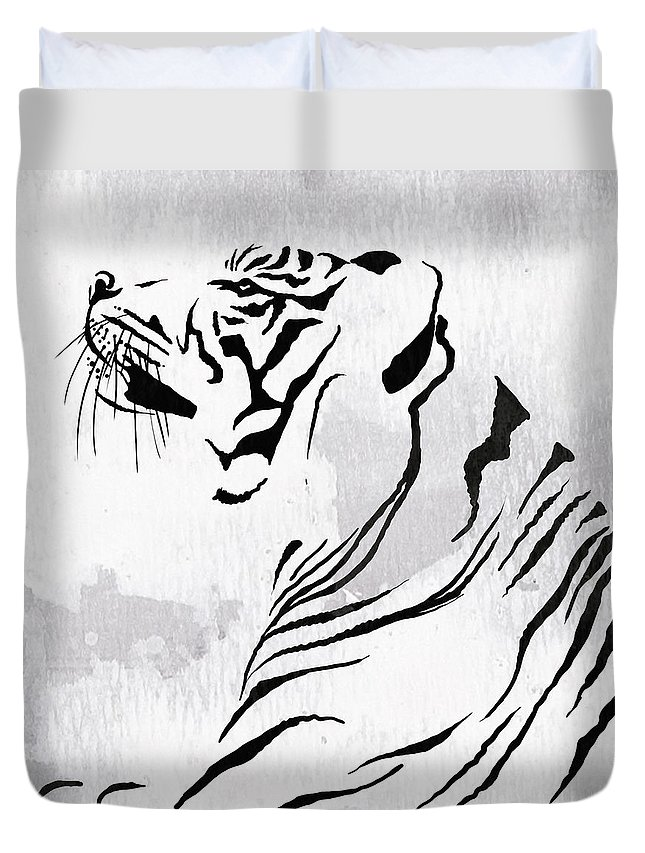 Tiger Duvet Cover featuring the painting Tiger Animal Decorative Black And White Poster 3 - By Diana Van by Diana Van