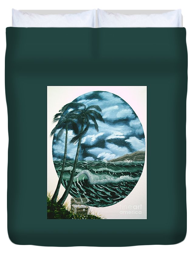 Seascape Duvet Cover featuring the painting Treasures Of The Sea by Jim Saltis