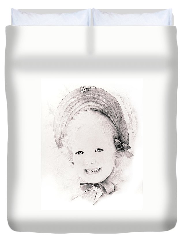 Portrait Duvet Cover featuring the drawing  Trudy by Rachel Christine Nowicki