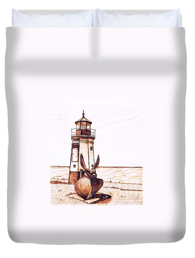 Lighthouse Duvet Cover featuring the pyrography Vermilion Lighthouse by Danette Smith