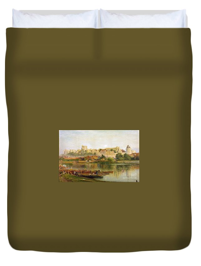 Alfred William Hunt - Windsor Castle 1889 Duvet Cover featuring the painting Windsor Castle by MotionAge Designs