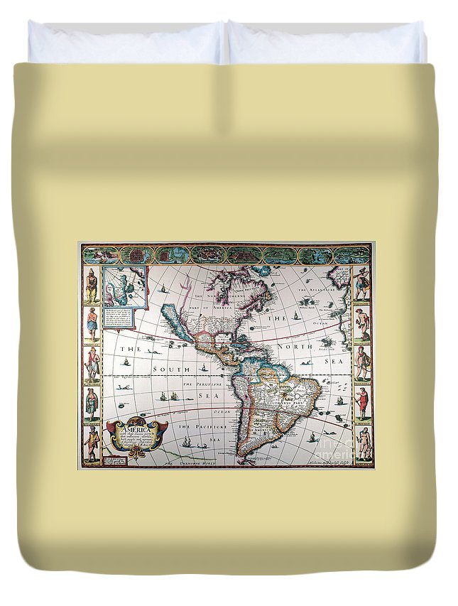 1616 Duvet Cover featuring the painting New World Map, 1616 by Granger