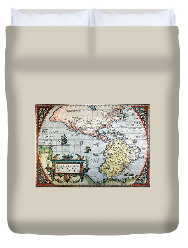 1570 Duvet Cover featuring the painting New World Map, 1570 by Granger