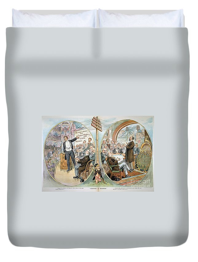 1904 Duvet Cover featuring the painting Business Cartoon, 1904 by Granger