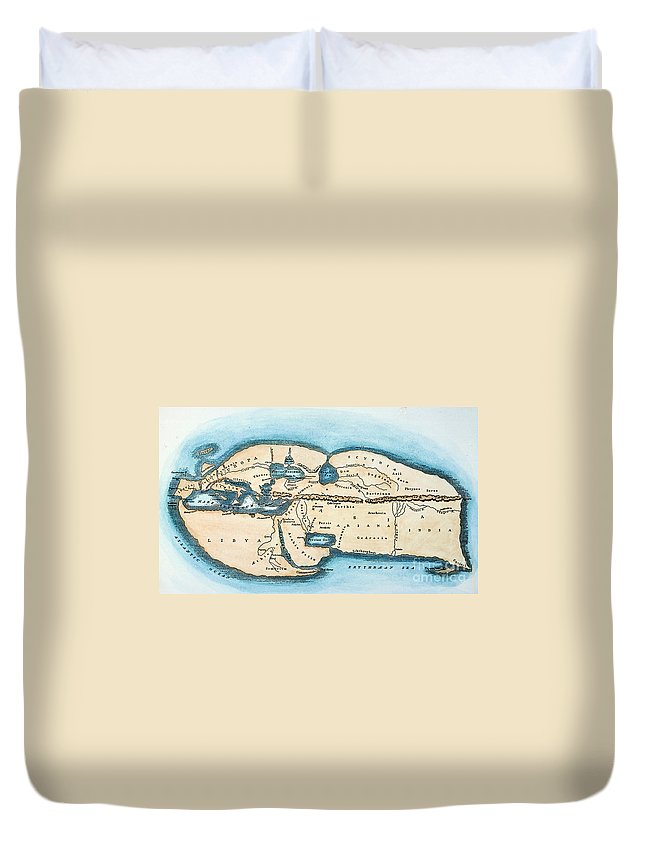 1st Century Duvet Cover featuring the painting Strabo World Map, C20 A.d by Granger