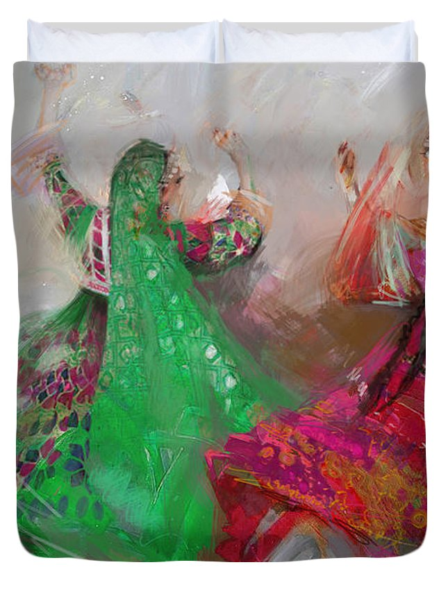 Attan Dance Duvet Cover featuring the painting 003 Pakhtun B by Maryam Mughal