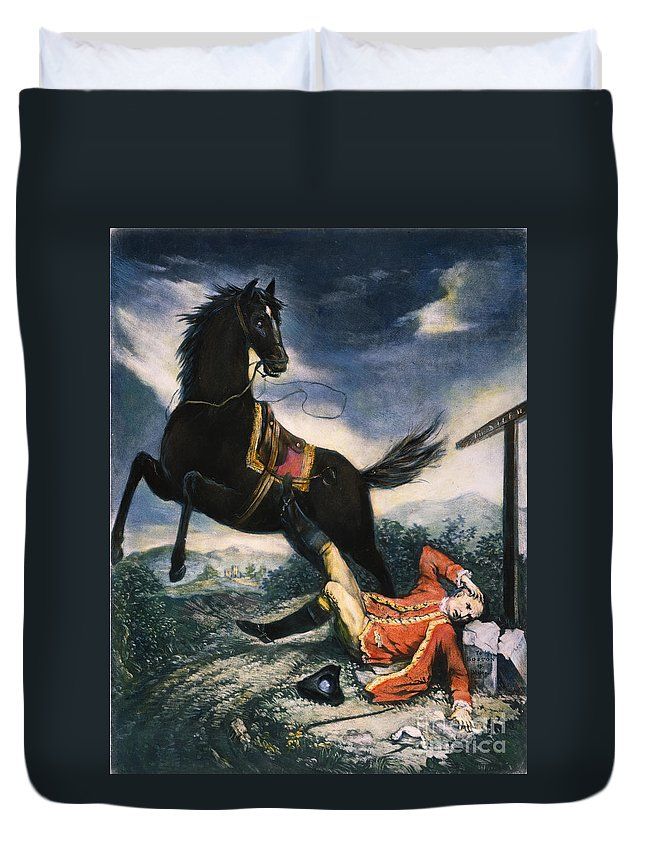 1774 Duvet Cover featuring the painting Cartoon: Thomas Gage, 1774 by Granger