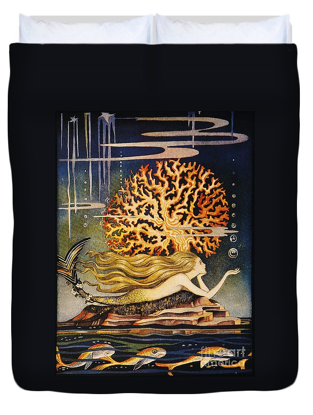 1932 Duvet Cover featuring the painting Andersen: Little Mermaid by Granger
