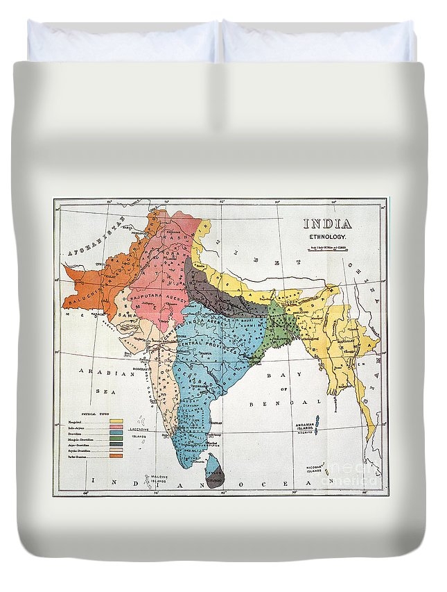 Aod Duvet Cover featuring the painting India: Map, 19th Century by Granger