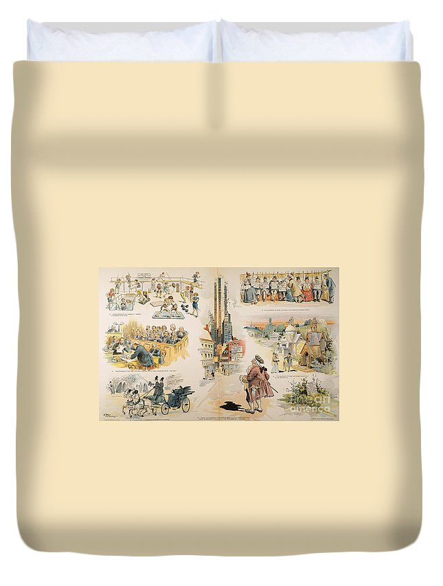 1896 Duvet Cover featuring the painting Overproduction Cartoon by Granger