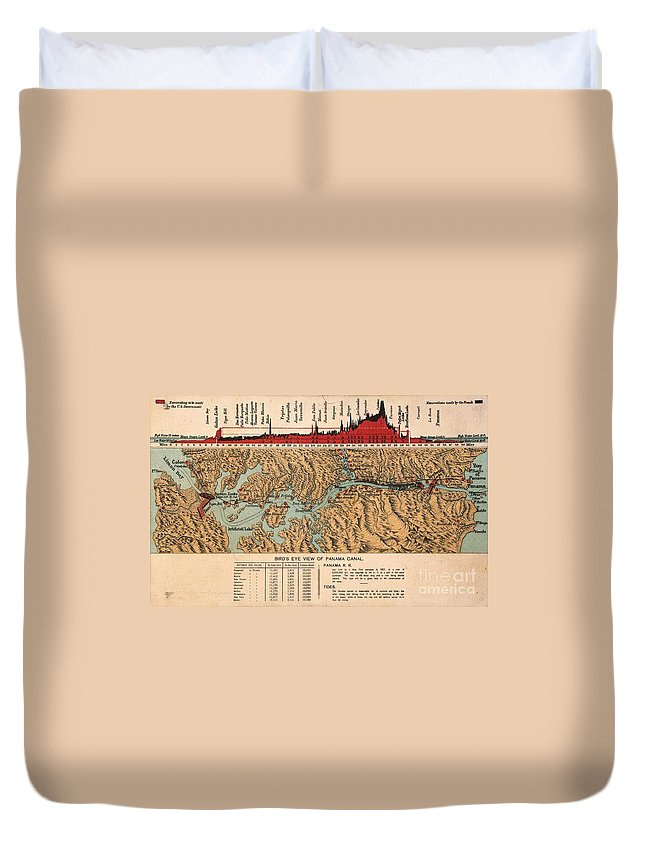 1914 Duvet Cover featuring the painting Card: Panama Canal, 1914 by Granger