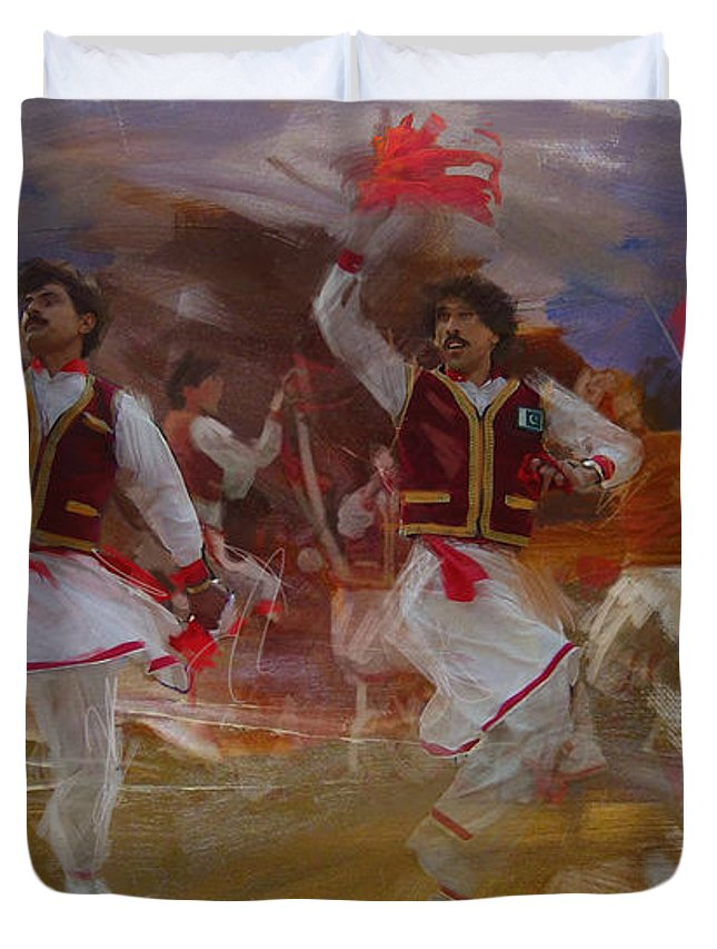 Attan Dance Duvet Cover featuring the painting 004 Pakhtun B by Maryam Mughal